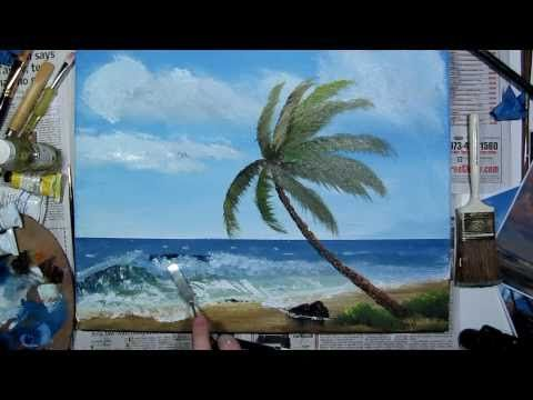 Art Lesson: How to paint a Tropical Palm Tree using Acrylic Paint - YouTube