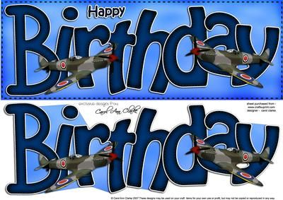 Birthday Spitfire Plane Large Dl Quick Card N 3D Decoupage on Craftsuprint designed by Carol Clarke - One of my soft and adorable felties designs.  Pop felties in the search box to find more in the same style!Ready to use Large DL card front with easy to cut 3d step by step decoupage topper.This design is also available in other coordinating colourways/designs and together they would make a great set of cards to sell at craft fairs etc.If you'd like a different style or colour or…