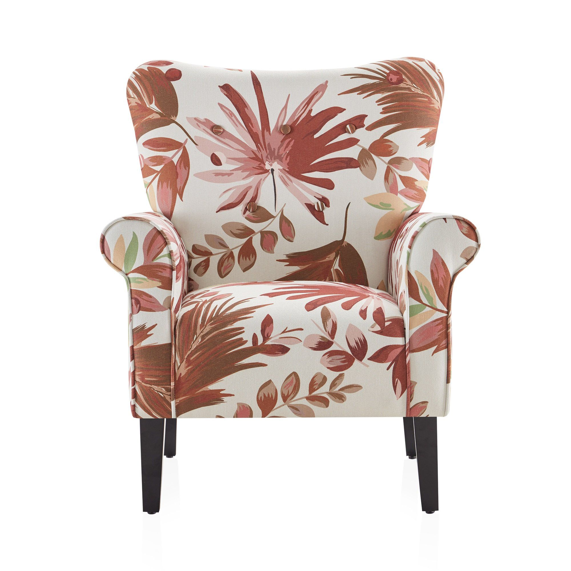 Belleze accent highback chair arm seat cushion w wooden