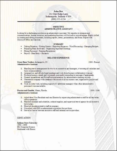 Executive Assistant Resume Sample -    wwwresumecareerinfo - sample resume for cna entry level