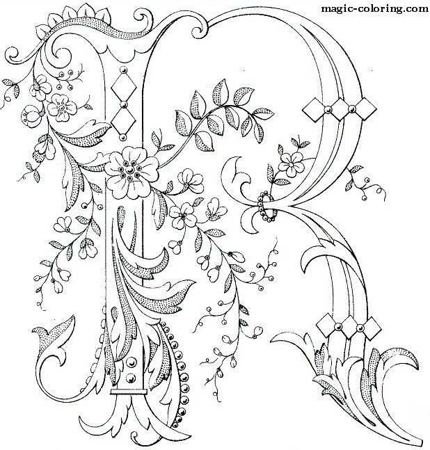 Great MAGIC COLORING | Flowered Monograms (3)