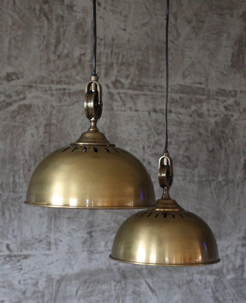 Hnge Lampe 26 Cm Alte Industrielampe Messing Loftlampe Fabrik Deckenlampe Loft