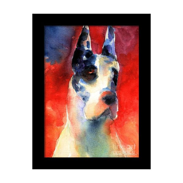 Harlequin Great Dane Watercolor Painting Framed Print In 2019