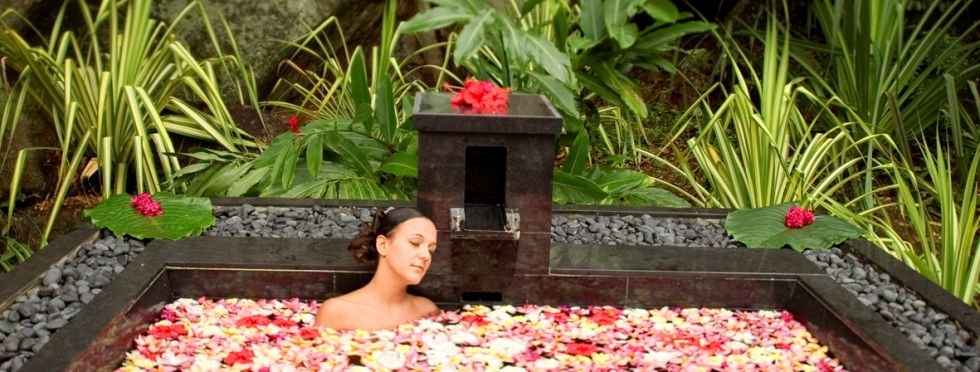 The spa at Banyan Tree Seychelles nestles within a verdant jungle, with granite mountains to one side and the Indian Ocean to the other. Try the Harmony Banyan treatment which includes a massage conducted by two therapists.