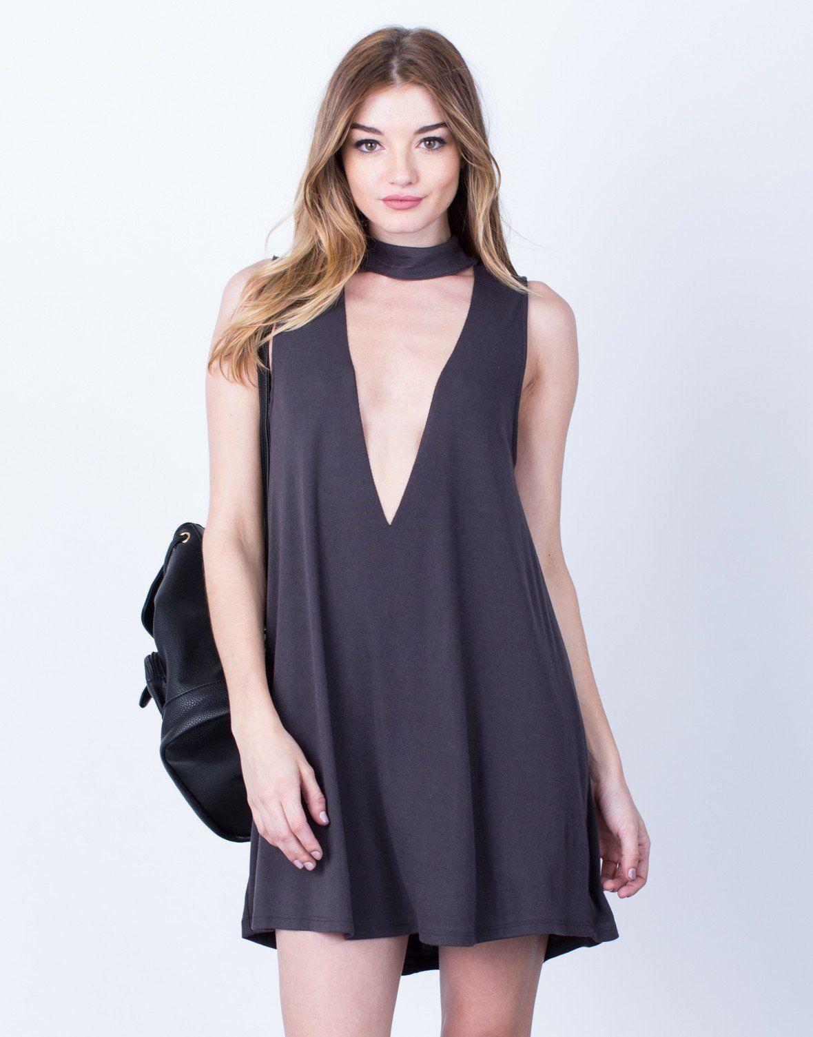Plunging Choker Dress
