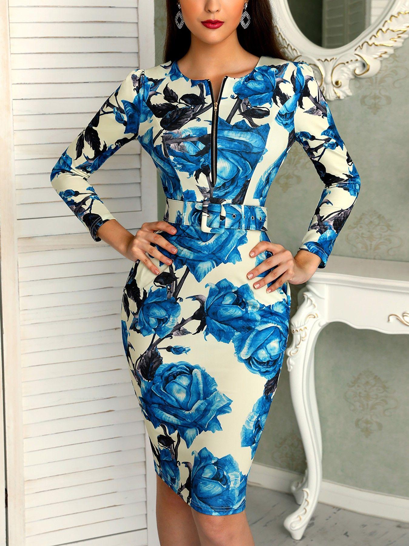 Floral print long sleeve zipper belted dress long sleeve