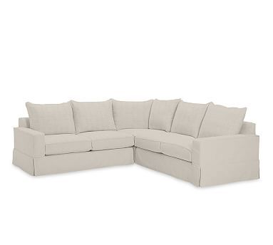 PB Comfort Square Arm Slipcovered 3-Piece L-Shaped Corner Sectional, Knife Edge Down Blend Wrapped Cushions, Linen Silver Taupe