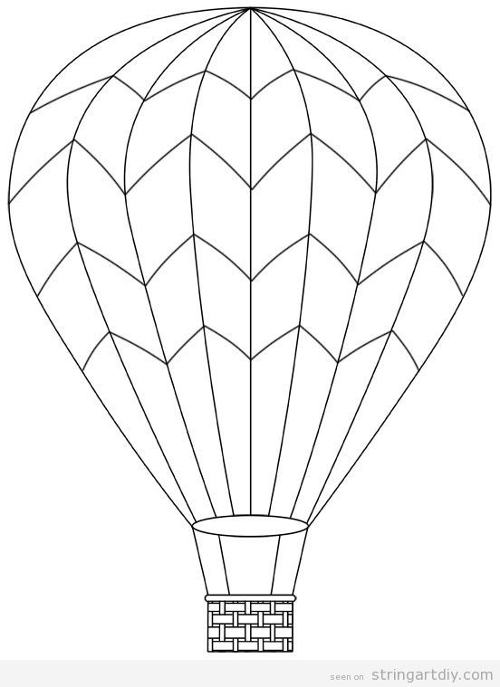 Hot Air Balloon Free And Pritnable Template 2 Balon Dibujo De