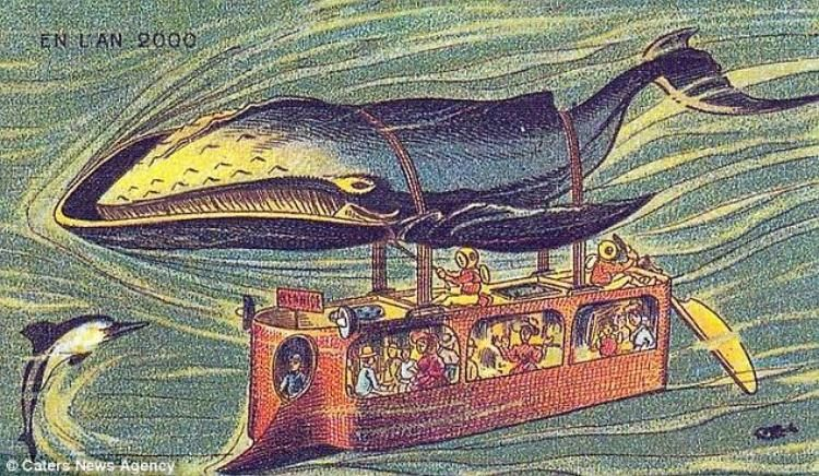 A set of 19th century postcards has revealed that's just what French artists thought we'd be doing at the turn of the 21st century. The set of postcards, produced between 1899 and 1910, predict what life would be like in Paris in the year 2000: Whales facilitate underwater travel.