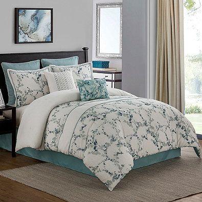 Meadow 8 Piece Comforter Set In Aqua Comforter Sets Bed Luxury Bedding Sets