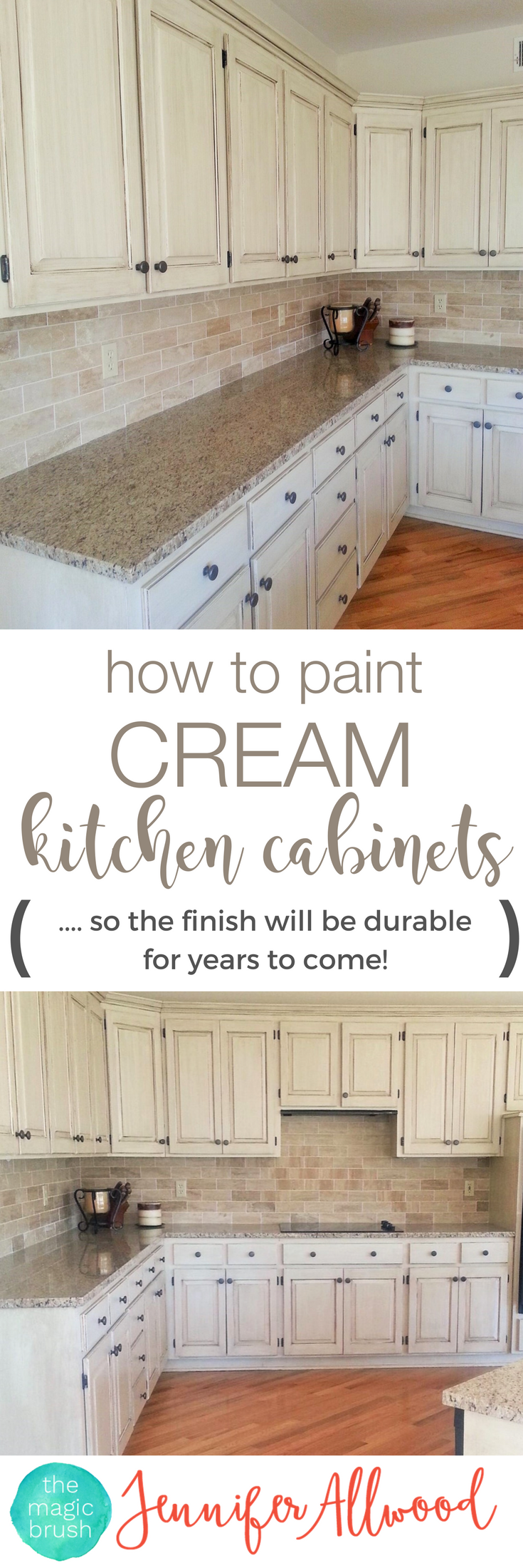 learn to paint a cream cabinet with glaze | cream kitchen cabinets