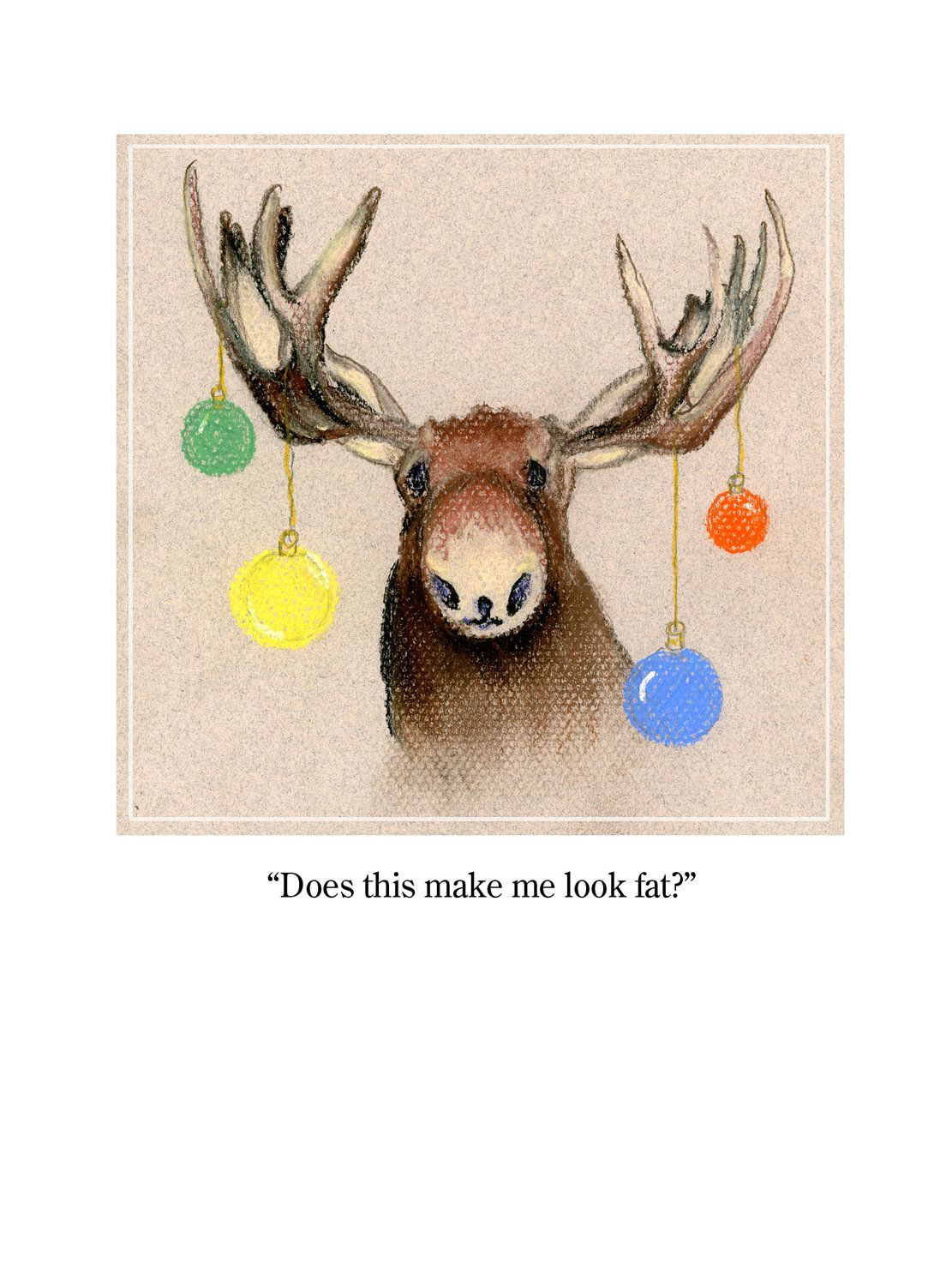 Handmade Christmas Card Christmas Moose Multi colored