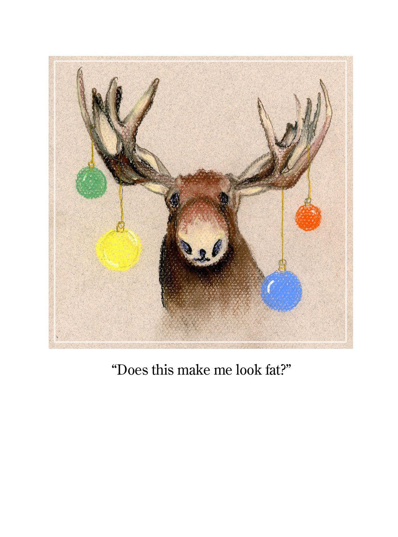 Handmade Christmas Card Christmas Moose Multi colored Christmas ...