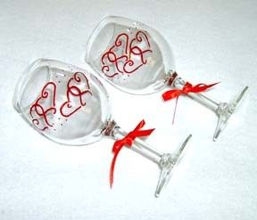 Red Hearts Wine Glass Hand Painted. $10.00, via Etsy.