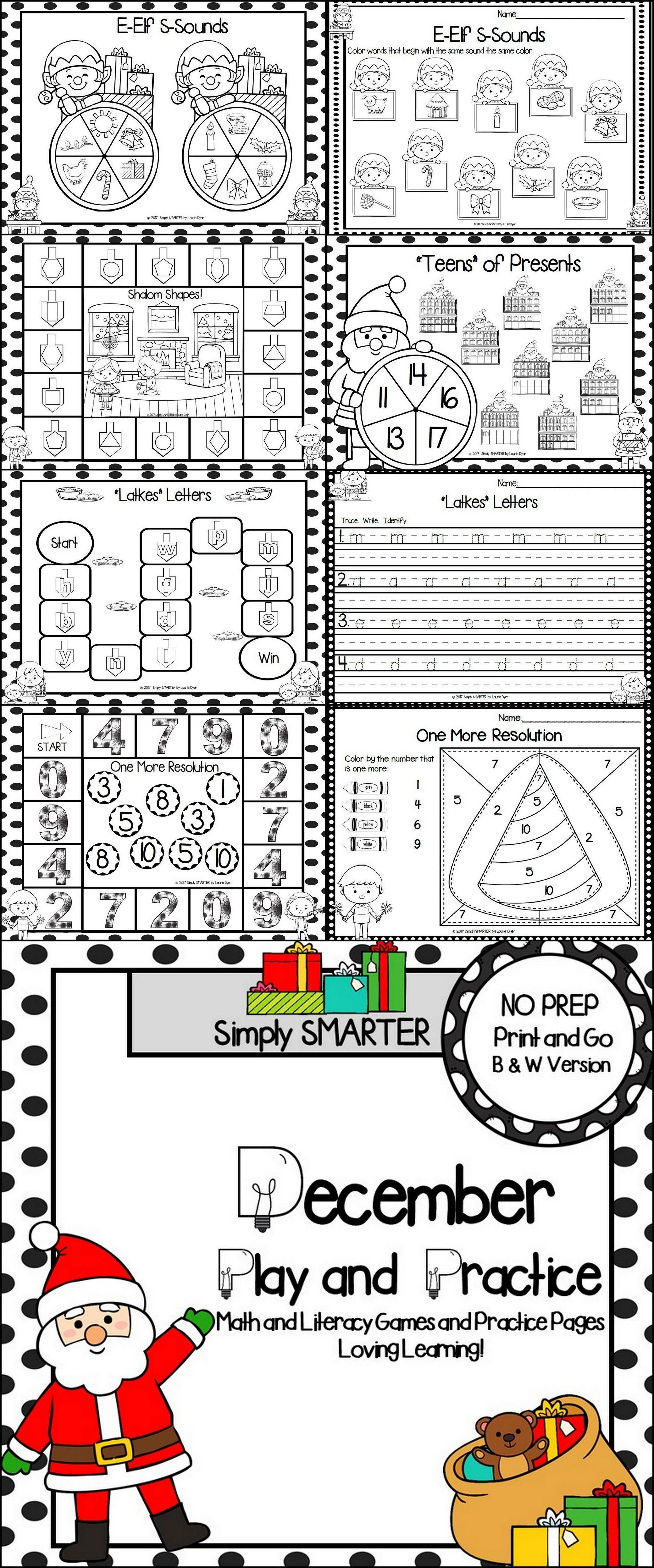 December Play and Practice: NO PREP Math and Literacy Games and ...