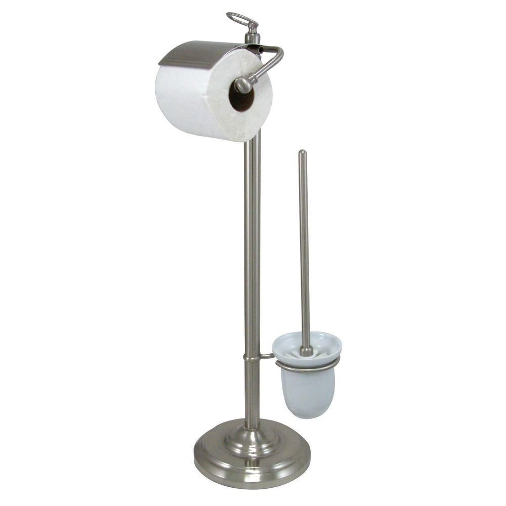 Kingston Brass Vintage Pedestal Toilet Paper and Brush Holder in Satin Nickel-HCC2018 - The Home Depot