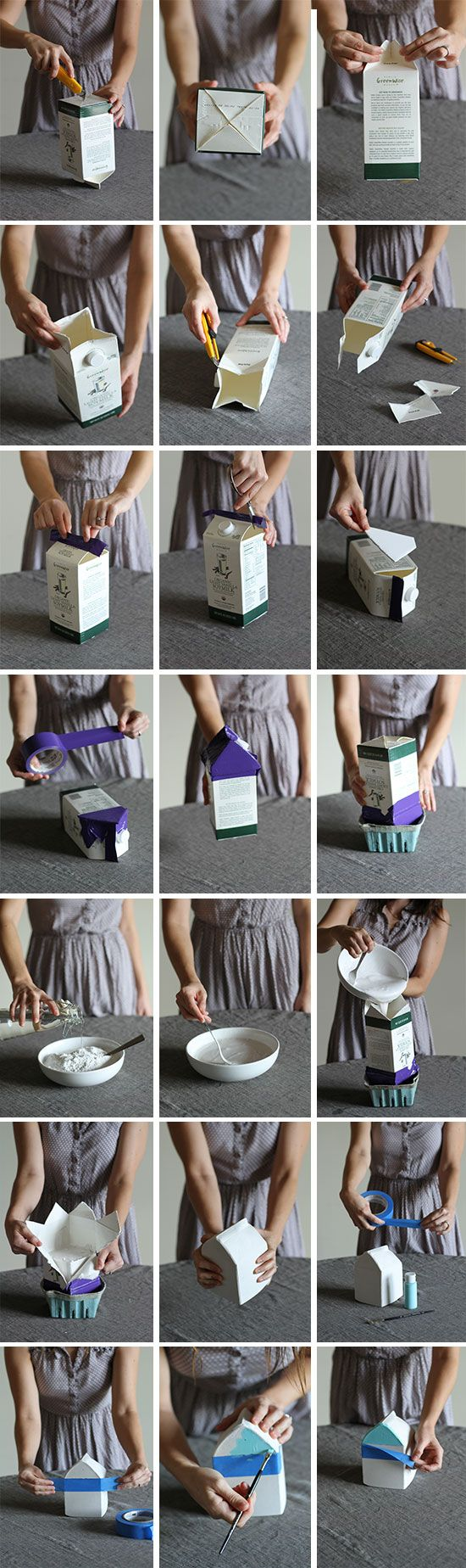 Make this diy plaster milk carton houses house concrete and cement