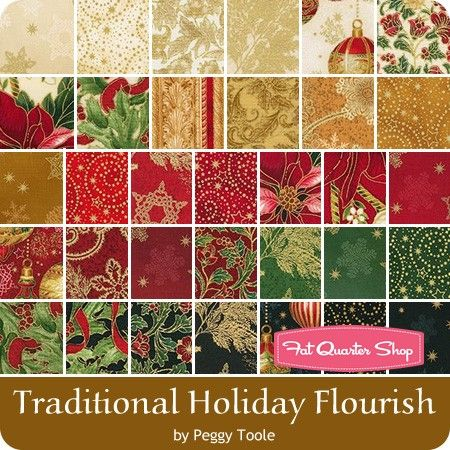 Traditional Holiday Flourish 9 10 inch Squares <BR>Peggy Toole for ...