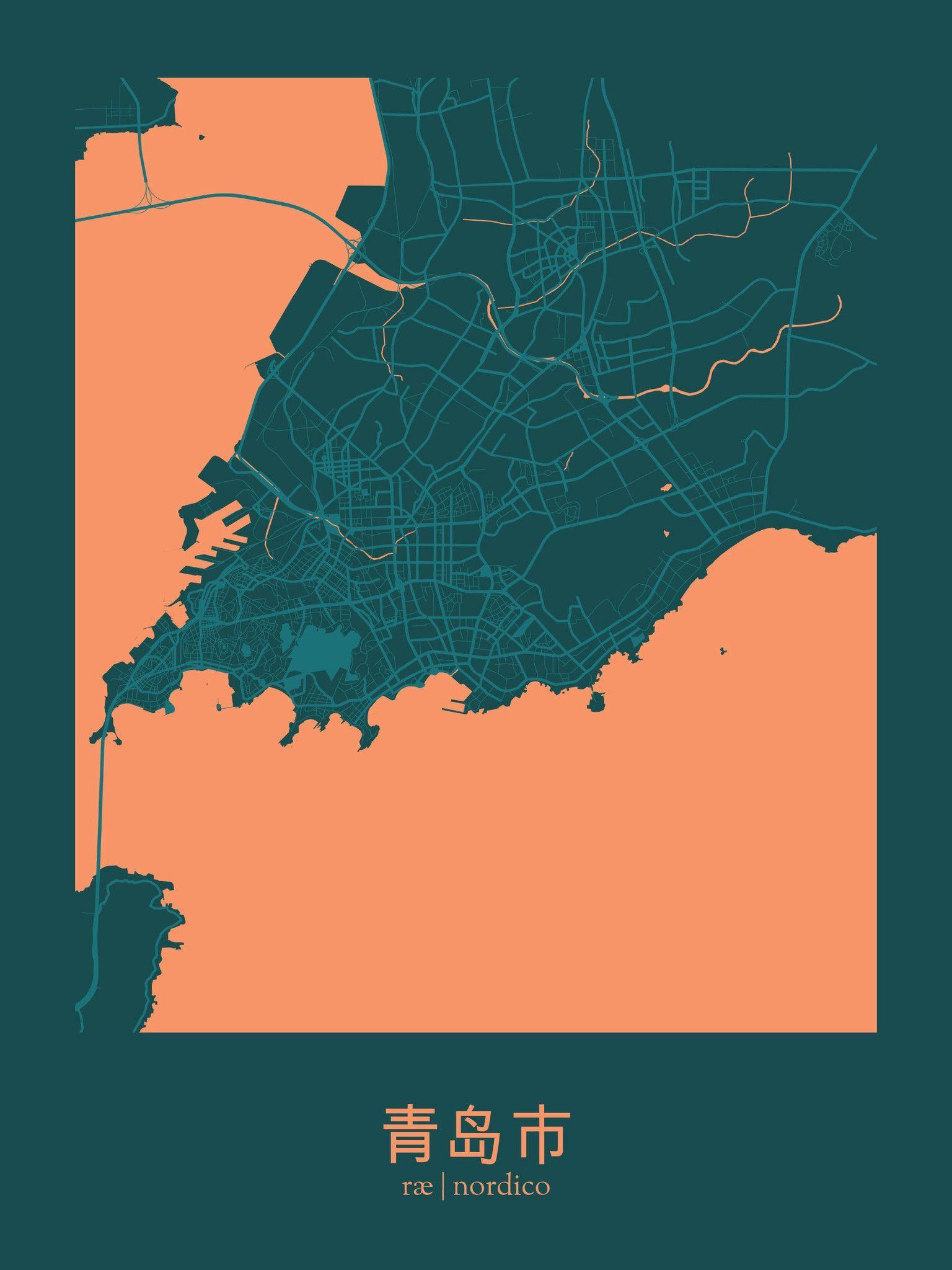 Qingdao China Map Print maps Pinterest Qingdao