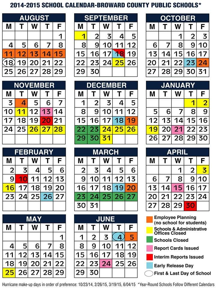 BROWARD COUNTY SCHOOLS 2014 2015 Calendar. | BROWARD SCHOOLS