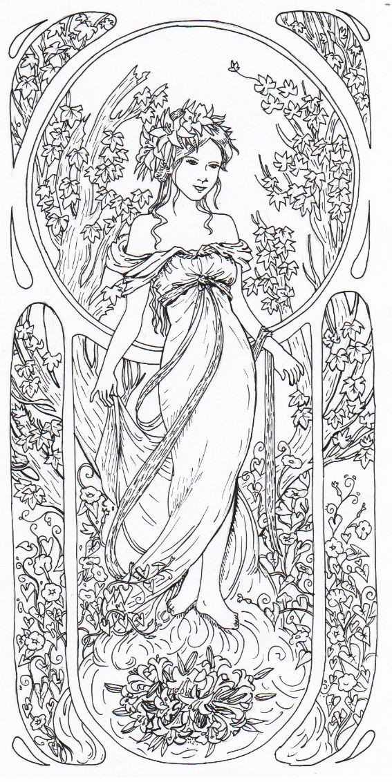 alphonse mucha coloriage pour adultes coloring pages for adults