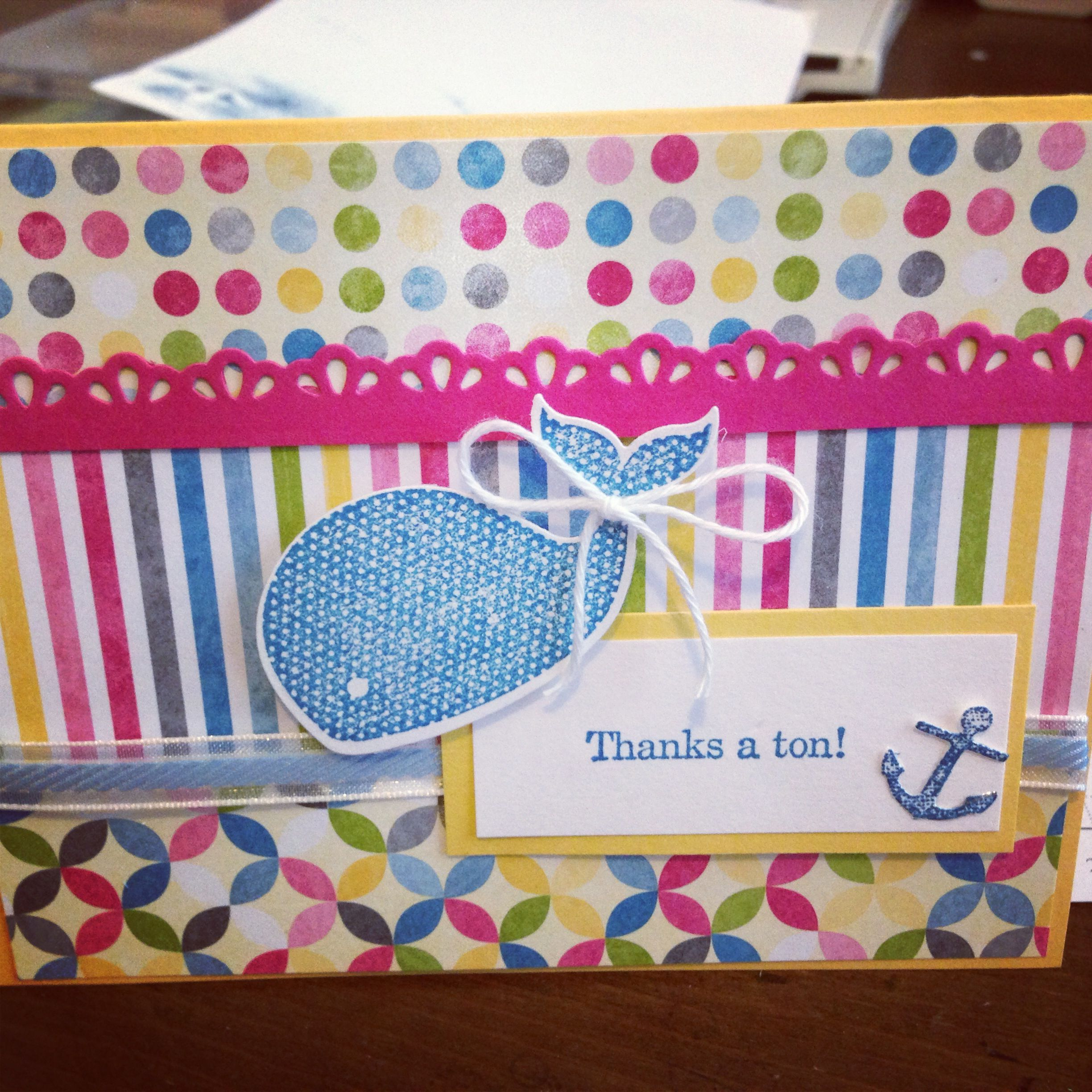 Stampin up oh whale thank you card card making pinterest