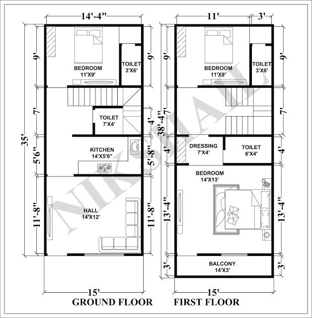 15X35 House plan with 3d elevation by nikshail   Diseños de