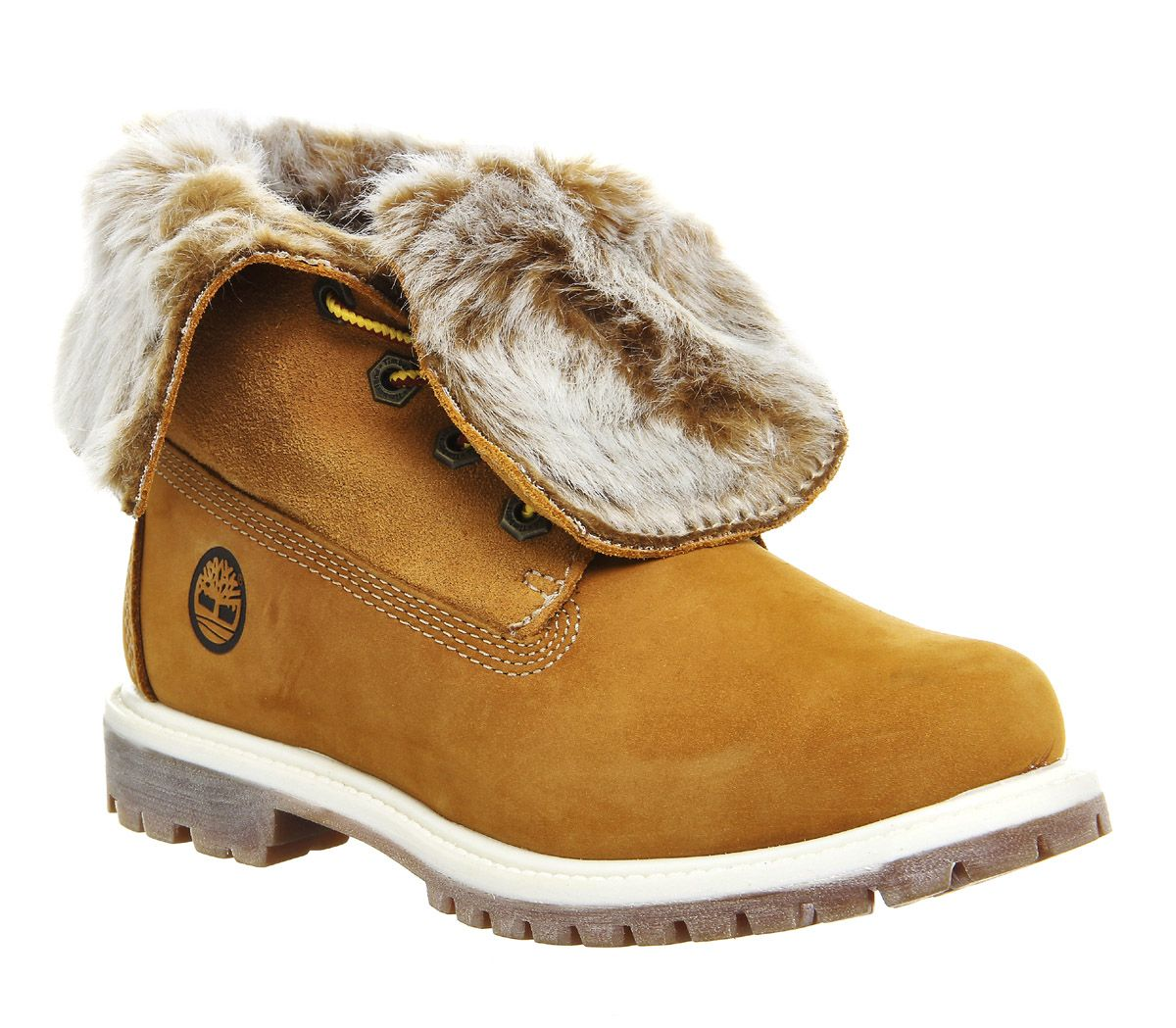 Timberland Fur Fold Down Boots Wheat Nubuck - Ankle Boots