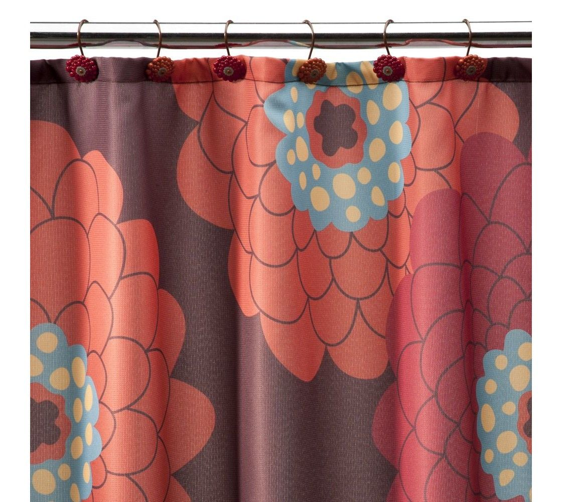 Stella Floral Shower Curtain Red Orange Bathroom Red Curtains