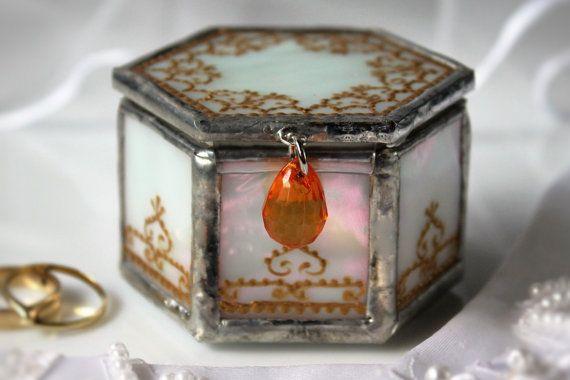 Autumn wedding glass ring box Personalized engagement par LaurusArt