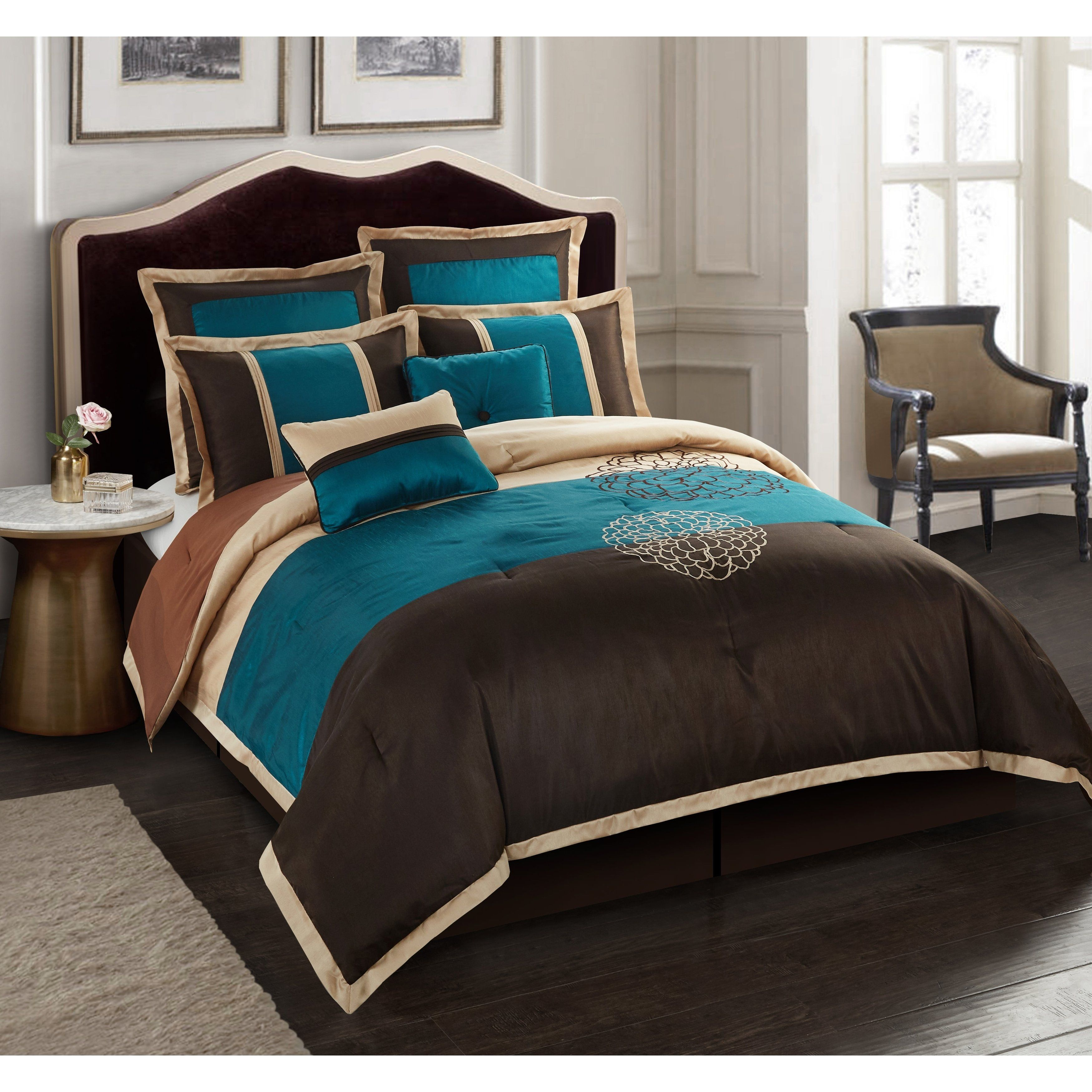 Nanshing Phoebe Brown Embroidered 8 Piece Comforter Set Queen