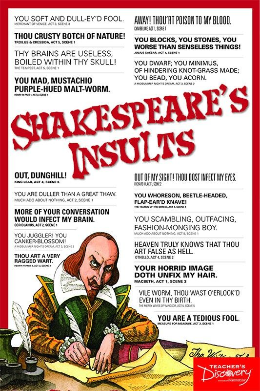 Shakespeare Phrases & Insults 2-Poster Set | Sarcasm