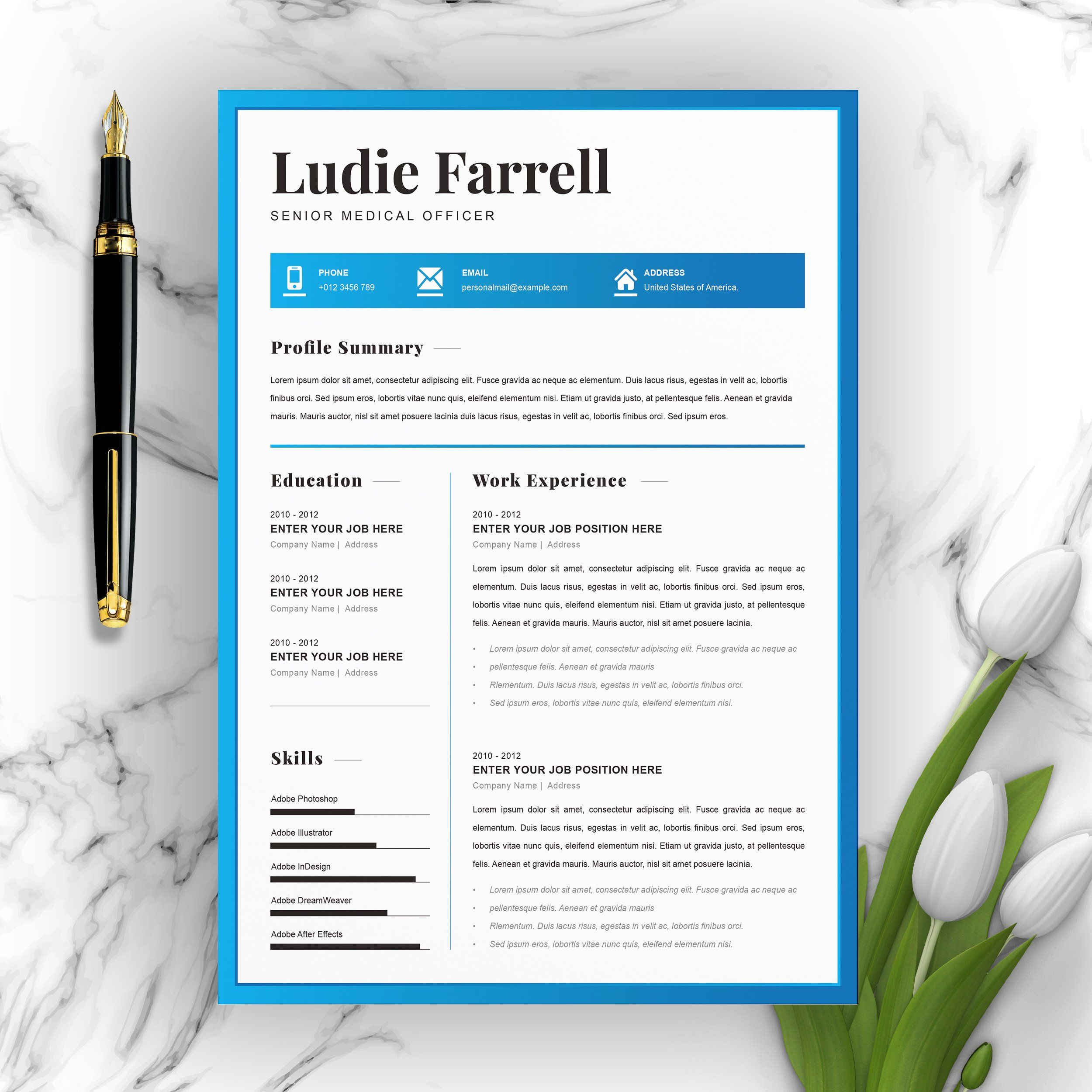 Creative resume word cv template by resumeinventor on