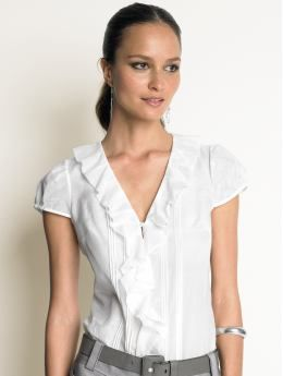 Cotton/silk ruffle blouse: short sleeve blouses & shirts | Banana ...
