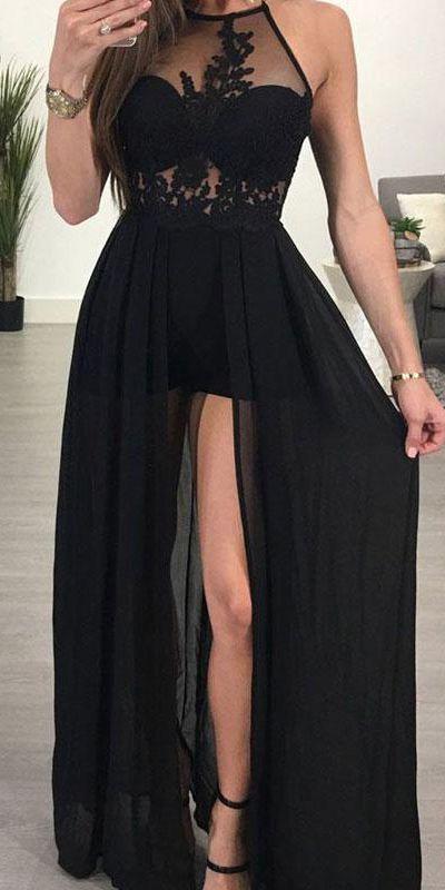b93b87b193e Black Lace Chiffon Long Front Split Halter Prom Dresses