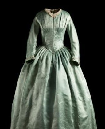 1840-1843 blue silk wedding dress, from the Meroogal collection.