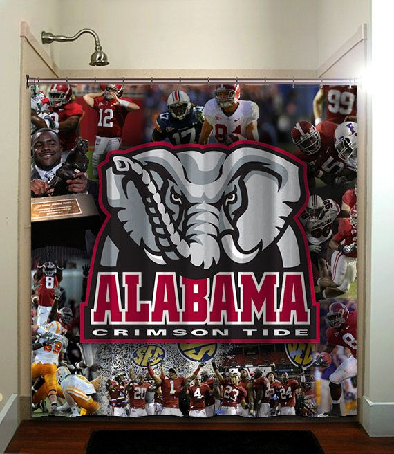ALABAMA CRIMSON TIDE Printed Waterproof Polyester Fabric Shower Curtain With Latest Design Our Will Brighten Your Bathroom And Create A Comfortable
