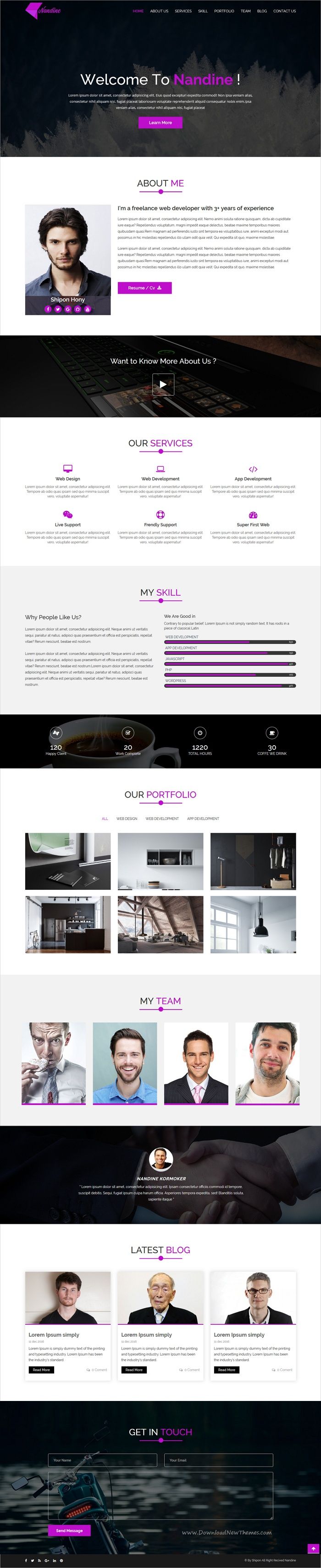 Nandine is a clean and professional design #HTML bootstrap template for #CV, resume and #portfolio showcase websites download now➩  https://themeforest.net/item/nandine-responsive-portfolio-html5-template/19414182?ref=Datasata