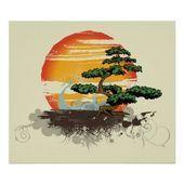 bonsai and sun custom print poster   Asian bonsai and sun custom print poster