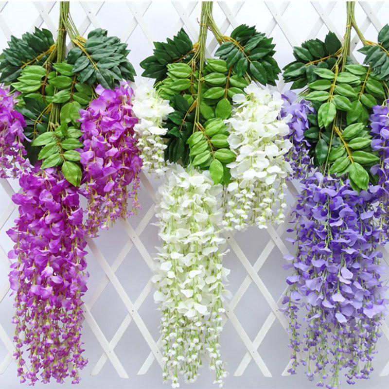 115cm Home Decor Artificial Silk Wisteria Hanging Flower Garland Vine Wedding Uk Vines Wedding Decor Wedding Arch Flowers Artificial Flowers