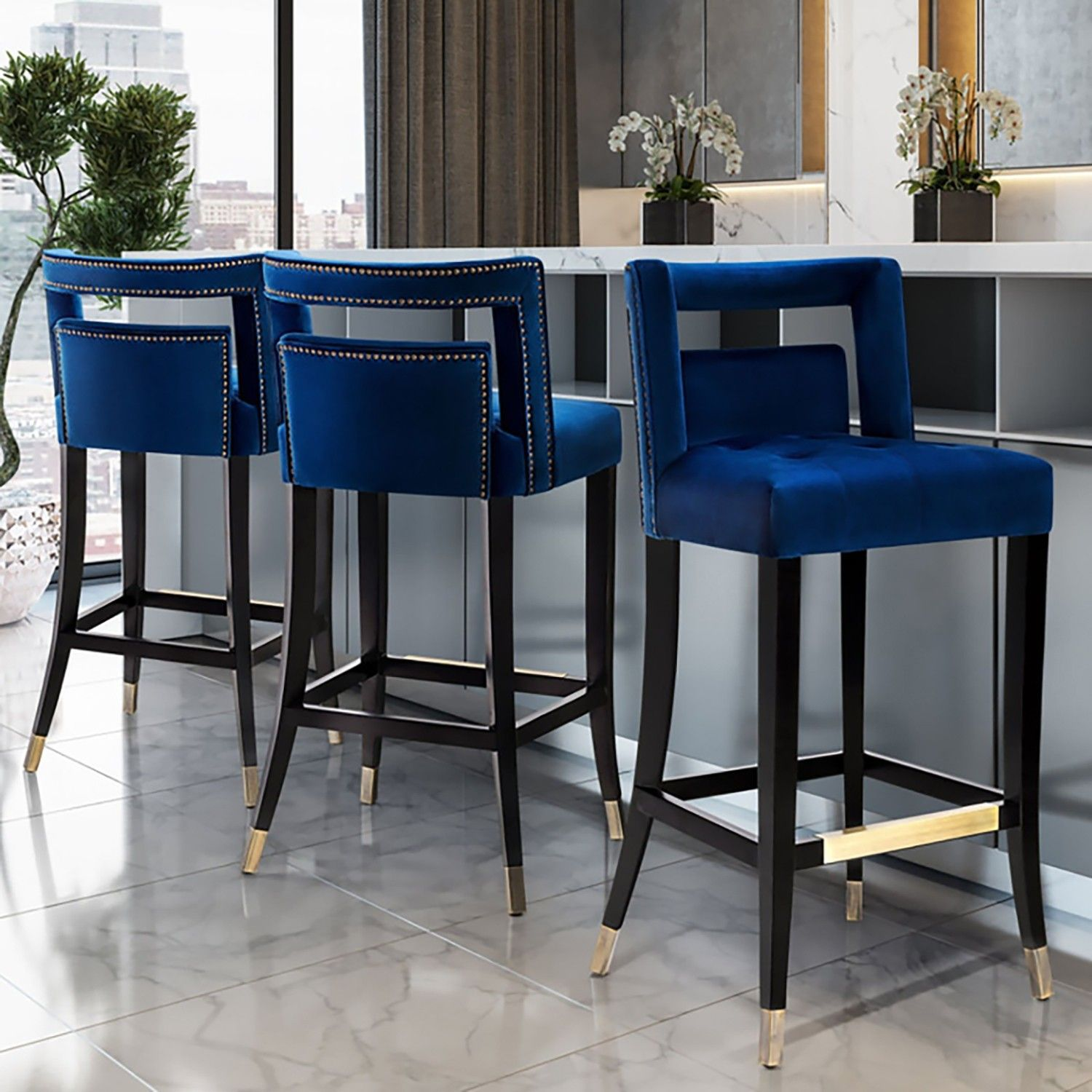 341 Ea Hart Stool Is Available In Bar And Counter Height Options In Sumptuous Grey Or Navy Bar Stools Kitchen Island Kitchen Stools Modern Kitchen Stools