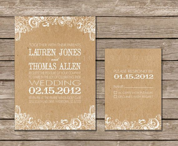 Wedding Invitation White Fl Craft Paper By Twigsprintstudio
