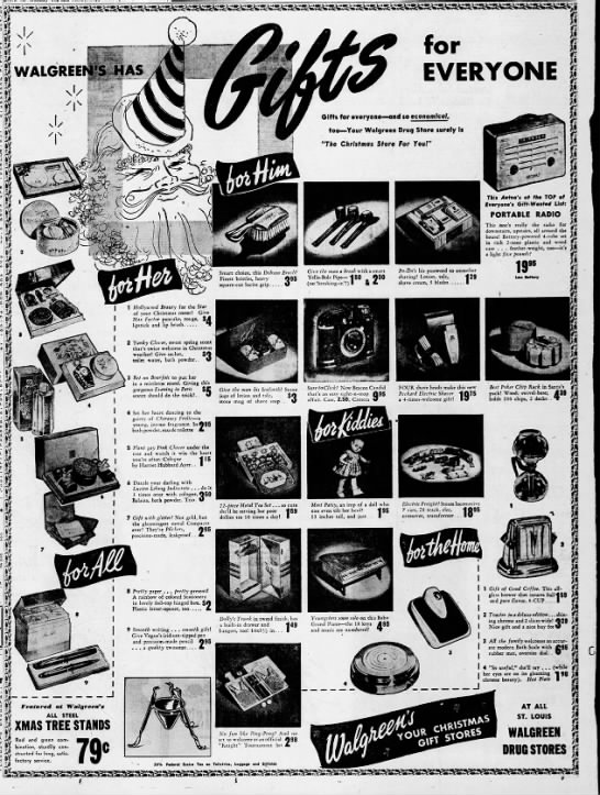 St Louis Christmas Radio 2020 Walgreen's Christmas ad, 1947 in 2020 | Christmas ad, Xmas tree