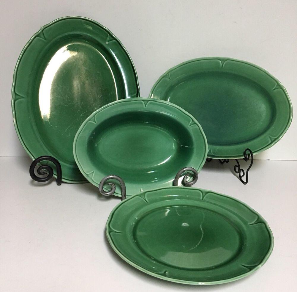 d3d38c3f291e9 Lot of 4 Vintage 1930's Mt Mount Clemens Pottery Green Petalware ...