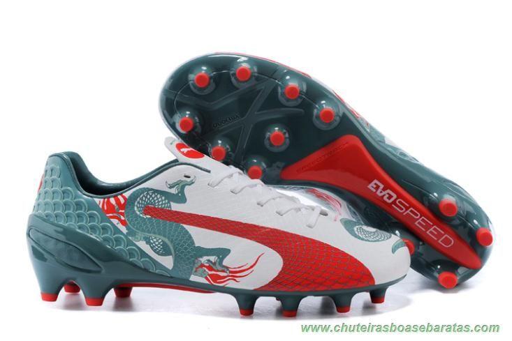 cd09d5ac4ec3c Masculino Chinese Dragon PUMA evoSPEED 1.3 FG Branco/Vermelho/Verde  chuteiras para futebol
