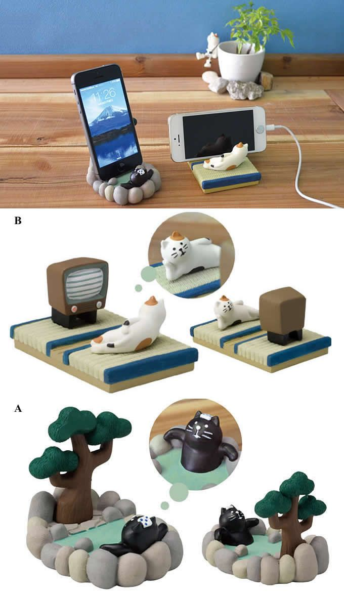 Cute Cat SPA Desk Business Card Holder Cell Phone Holder | Best ...