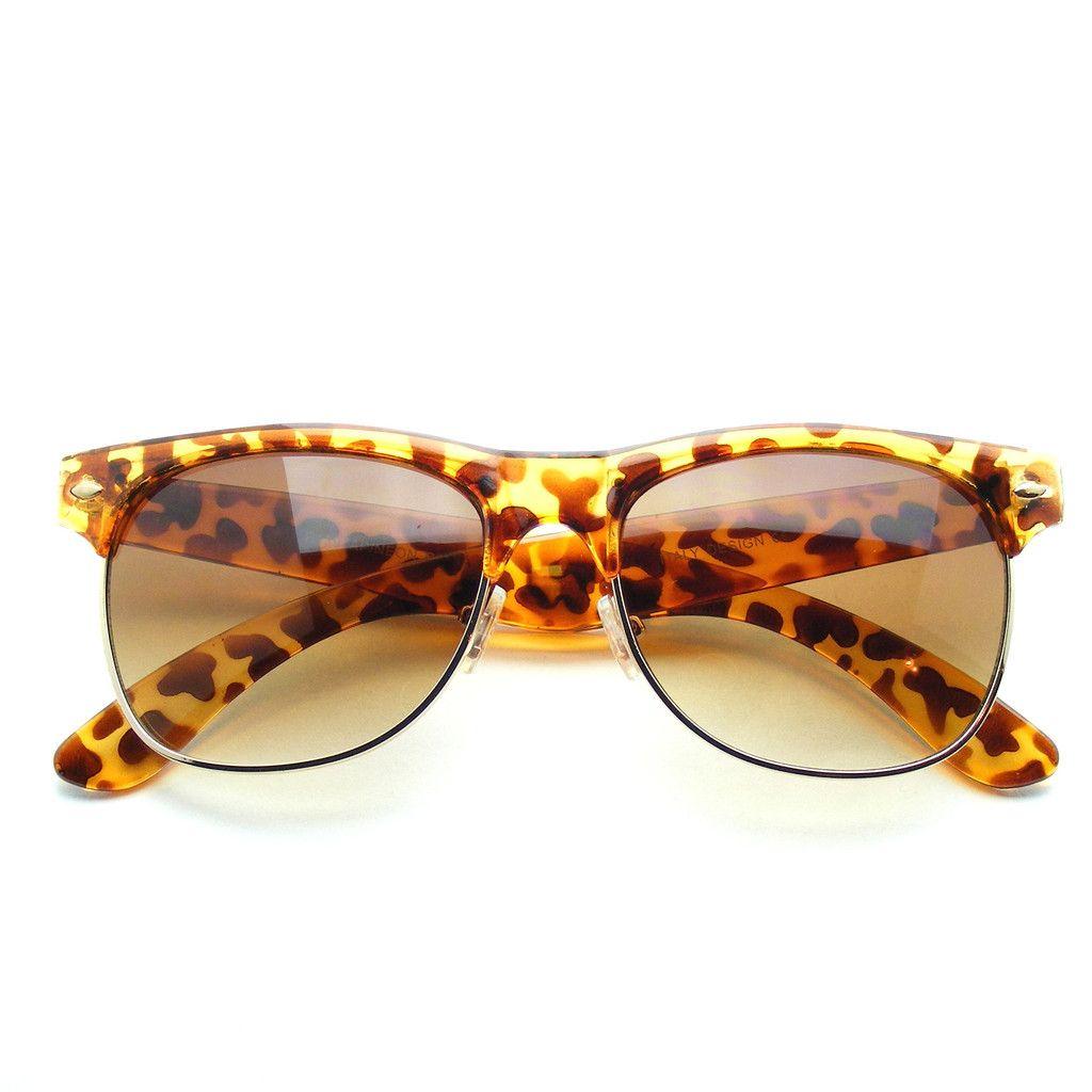 Pastel Colors Flat Top Half Frame Clubmaster Wayfarer Sunglasses
