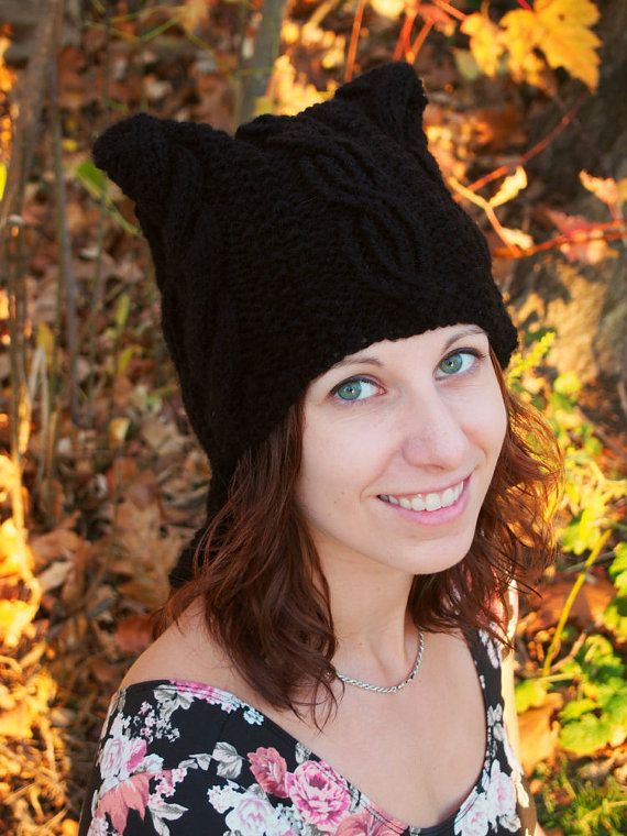 5e3a20b65a9f5 Winter Hat with Cat Ears Black Cable Knit by kittensmittensshop ...