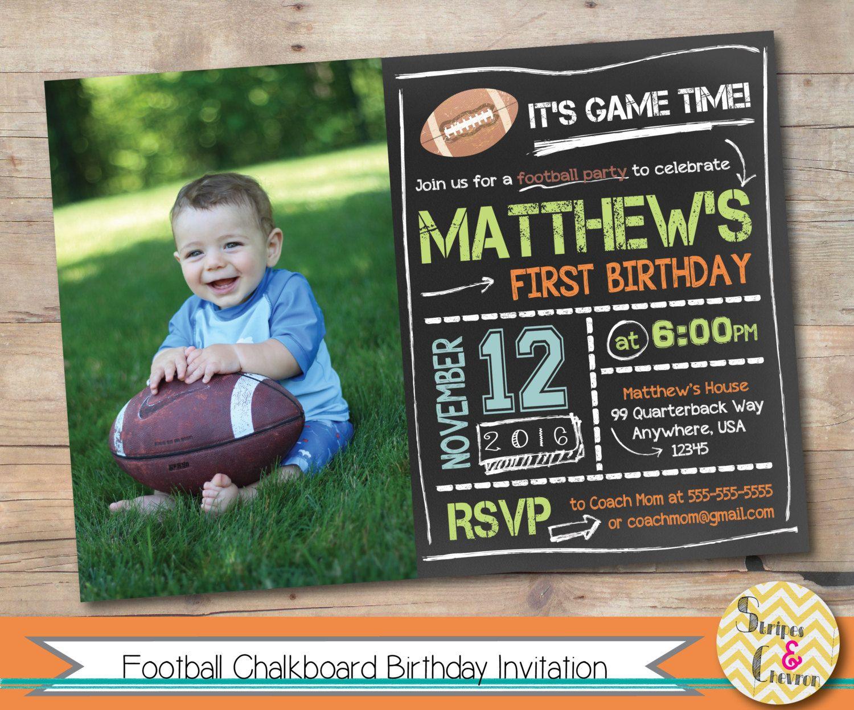 Football party invitation, Football birthday, 1st birthday or any ...