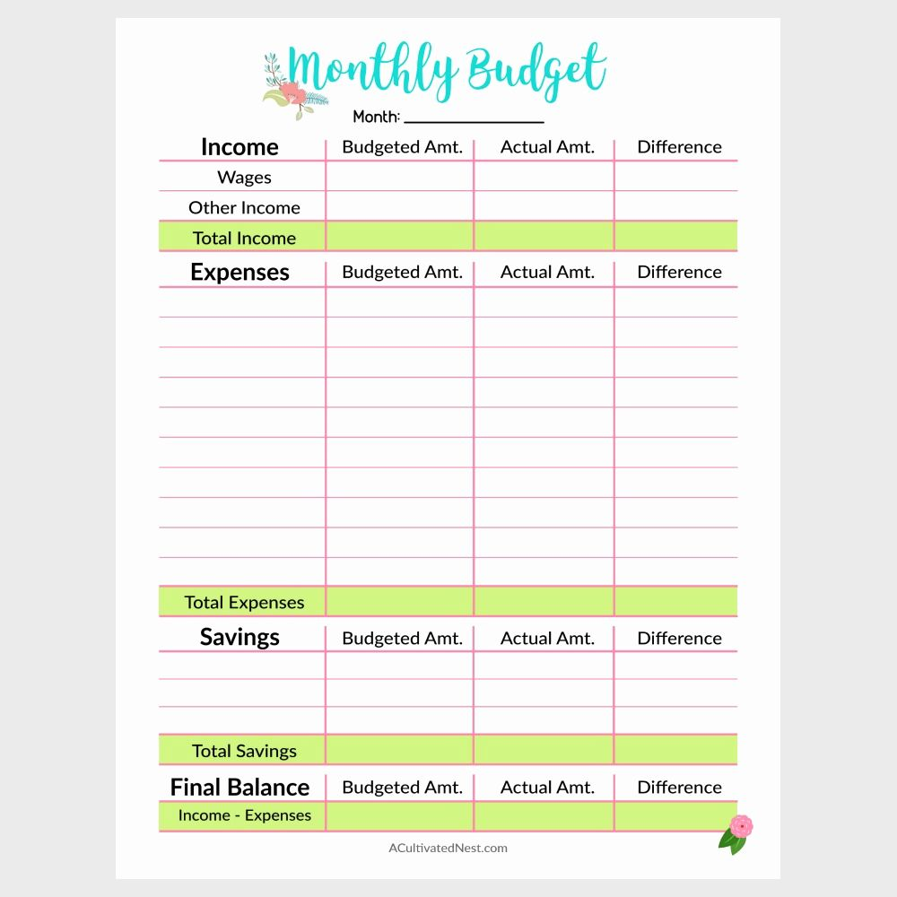 Simple Monthly Budget Template Printable in .PDF format